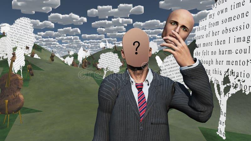 El hombre quita la cara que muestra la pregunta stock de ilustración