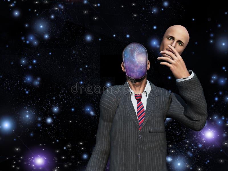 El hombre quita la cara revela las estrellas dentro libre illustration