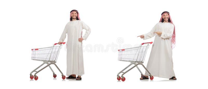 El hombre ?rabe que hace las compras aisladas en blanco fotografía de archivo
