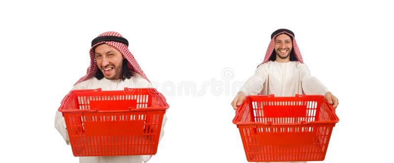 El hombre ?rabe que hace las compras aisladas en blanco imagen de archivo libre de regalías