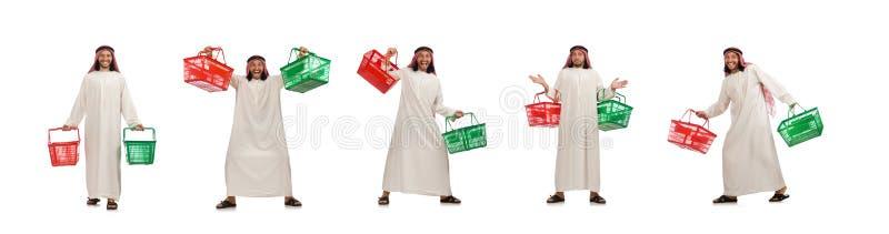 El hombre ?rabe que hace las compras aisladas en blanco imágenes de archivo libres de regalías