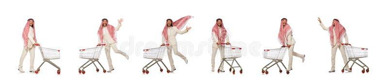El hombre ?rabe que hace las compras aisladas en blanco fotos de archivo