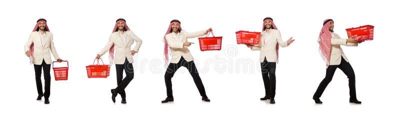 El hombre ?rabe que hace las compras aisladas en blanco foto de archivo