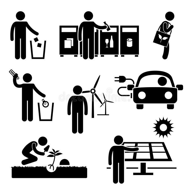 El hombre recicla el ahorro de la energía verde Pictog del ambiente ilustración del vector