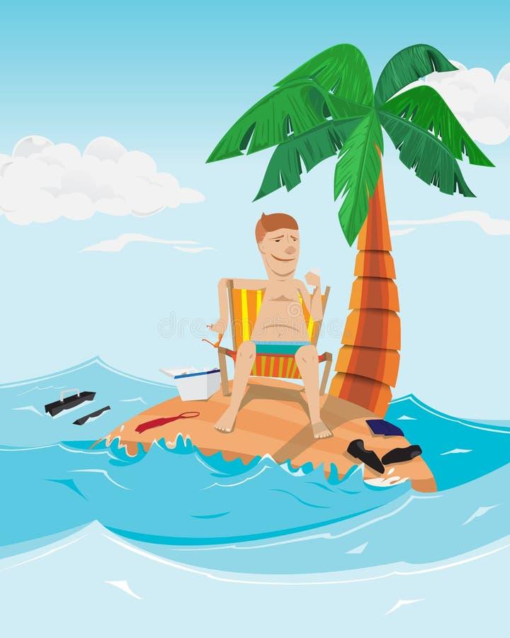 El hombre relaja tiempo en la isla Hombre de negocios en la isla desierta con la palma libre illustration