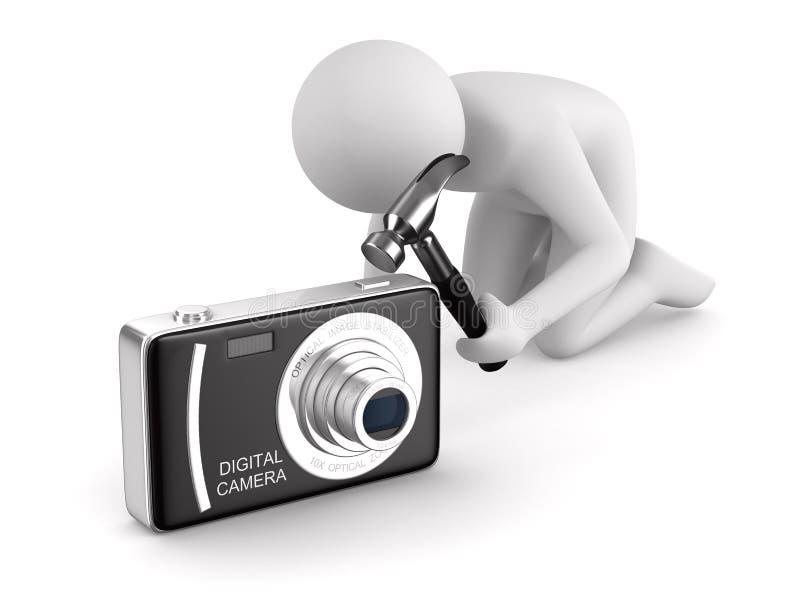 El hombre repara las cámaras digitales compactas libre illustration