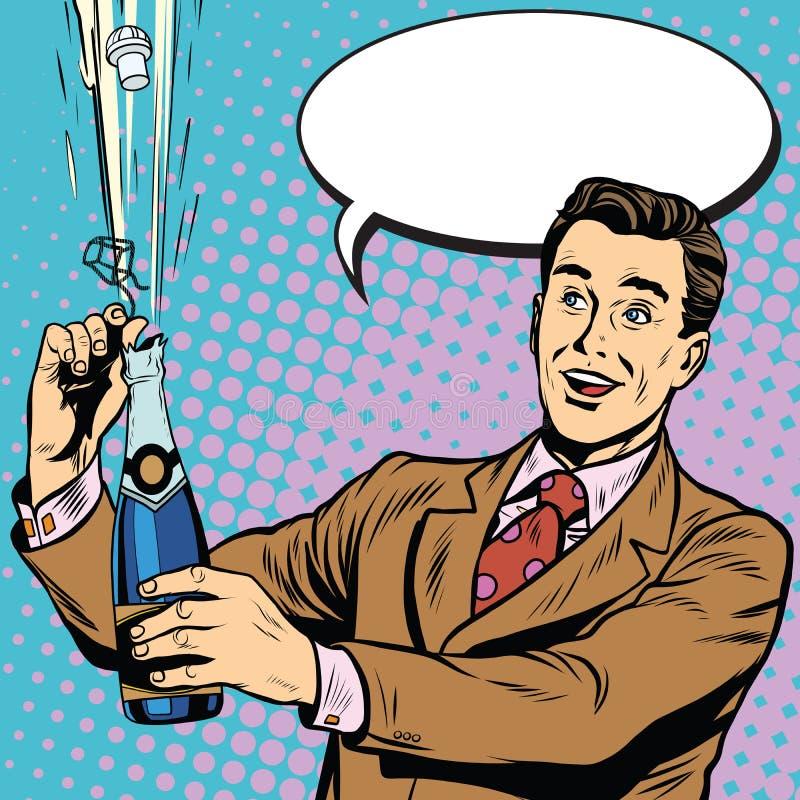 El hombre retro abre día de fiesta de la celebración del partido del champán stock de ilustración