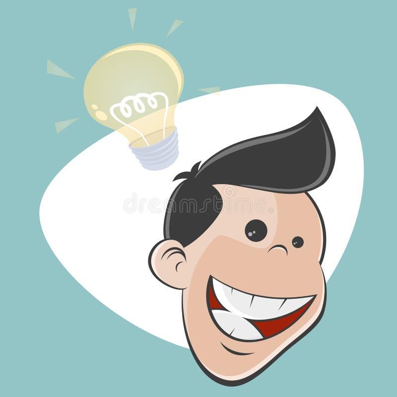 El hombre retro feliz de la historieta tiene una idea libre illustration