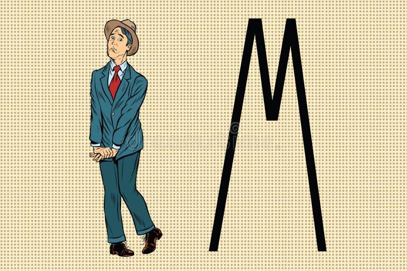 El hombre retro quiere piss en el retrete stock de ilustración