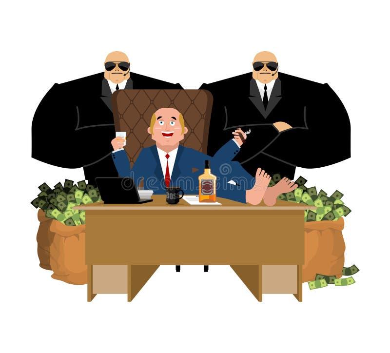 El hombre rico se sienta en la tabla y bebe el whisky Al cigarro del humo pluto stock de ilustración