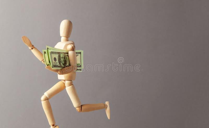 El hombre robó el dinero y los funcionamientos lejos Hombre de negocios del ladr?n Copie el espacio para el texto fotografía de archivo