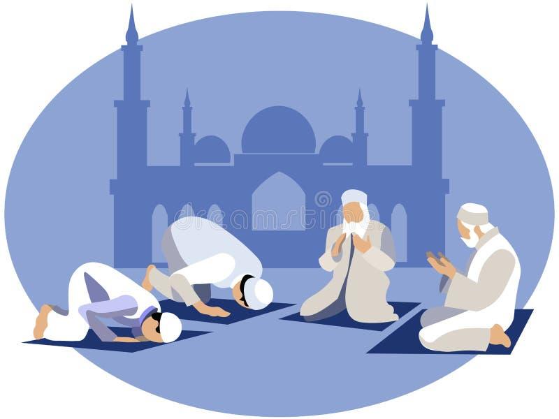 El hombre ruega, rezo en Islam En estilo minimalista Vector plano de la historieta ilustración del vector