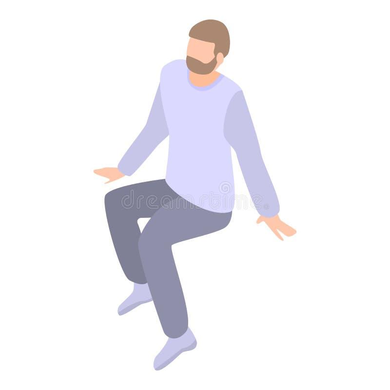 El hombre salta encima del icono, estilo isom?trico stock de ilustración