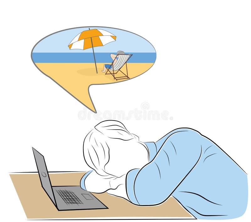 El hombre se cayó dormido en el lugar de trabajo sueño sobre el ejemplo del vector del resto stock de ilustración