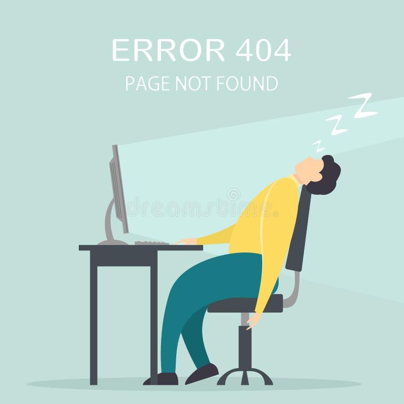 El hombre se cayó dormido en el ordenador stock de ilustración