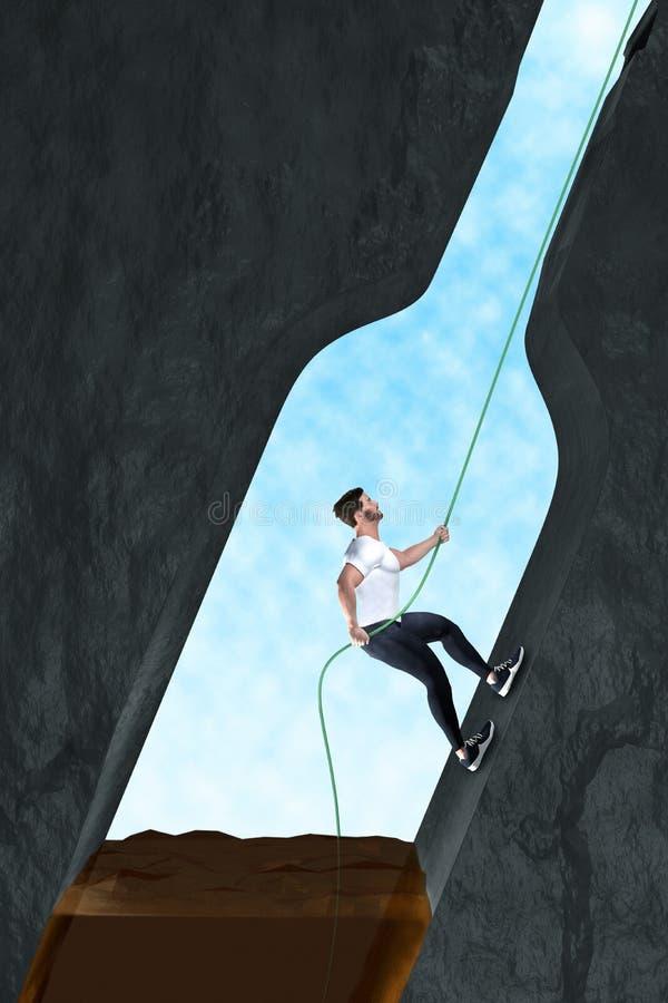 El hombre se libera de la adicción al alcohol ilustración del vector