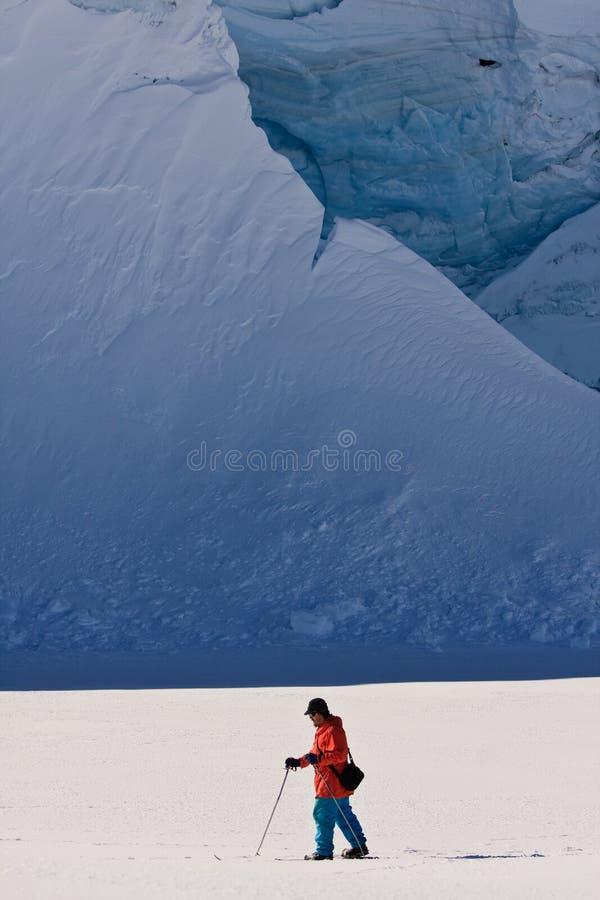 El hombre se mueve en los esquís fotografía de archivo