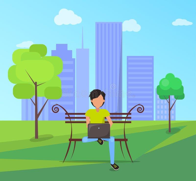 El hombre se sienta en banco en parque de la ciudad con el ordenador portátil moderno stock de ilustración