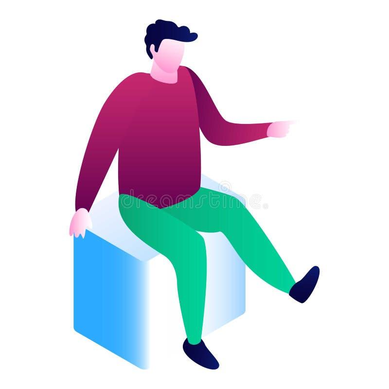 El hombre se sienta en el icono del cubo, estilo isométrico ilustración del vector