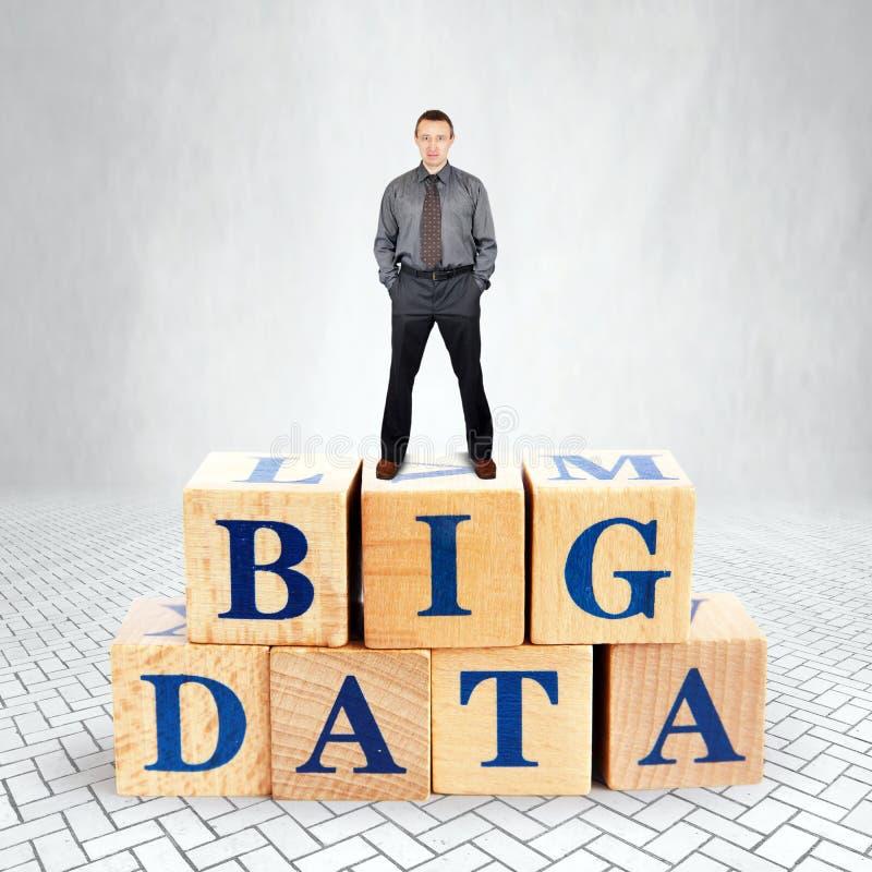 El hombre seguro de sí mismo se coloca en el top del montón de bloques de madera con el texto Big Data fotografía de archivo