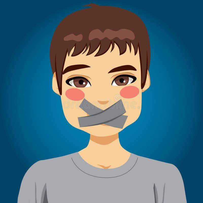 El hombre silenció la boca ilustración del vector
