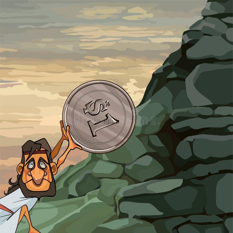 El hombre Sisyphus de la historieta rueda una moneda encima de la montaña stock de ilustración