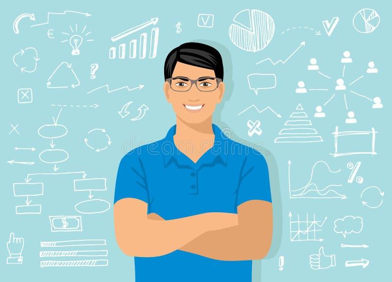 El hombre sonriente atractivo joven con los vidrios contra la perspectiva de los elementos gráficos, símbolos, círculo, garabatea ilustración del vector