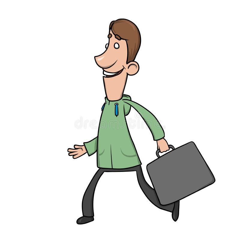El hombre sonriente divertido con una cartera en sudadera con capucha camina y agita sus manos Ejemplo del vector del personaje d libre illustration