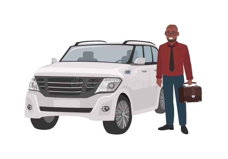 El hombre sonriente se vistió en ropa y sostener del negocio la cartera que se colocaba al lado del coche de lujo Hombre de negoc stock de ilustración