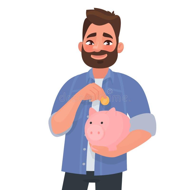 El hombre sostiene una bater?a guarra Concepto de finanzas de ahorro Ilustraci?n del vector libre illustration