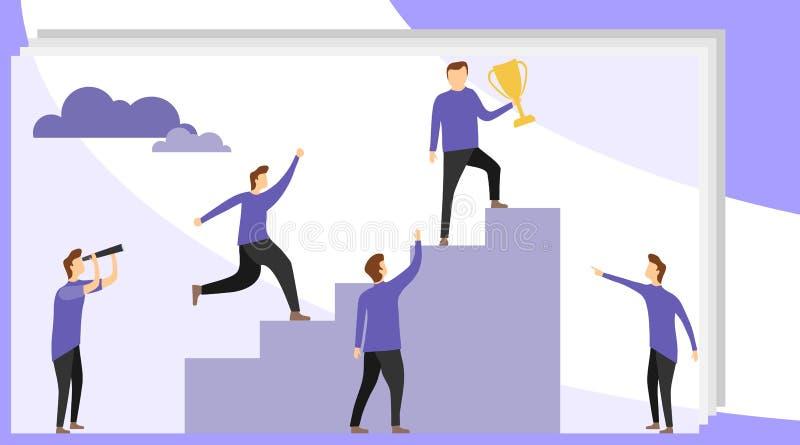 El hombre subió para arriba la escalera de la carrera y sostiene una taza del oro Realización de éxito, escalera de la carrera stock de ilustración