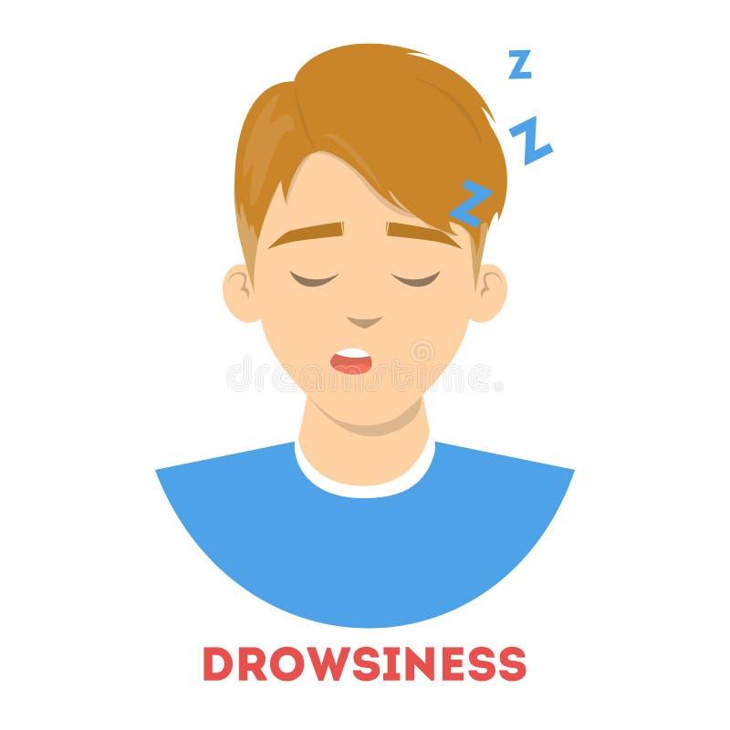 El hombre sufre de somnolencia Sue?o cansado de la persona stock de ilustración