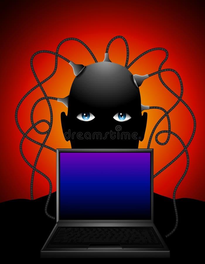 El hombre tapó en la computadora portátil stock de ilustración