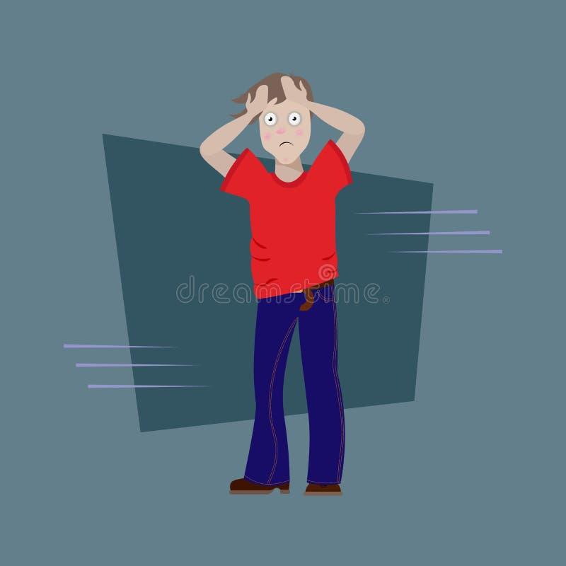 El hombre tenía una molestia Sorpresa desagradable Envolvió su cabeza en sus manos hombre cansado, enfermo, asustado con los círc stock de ilustración