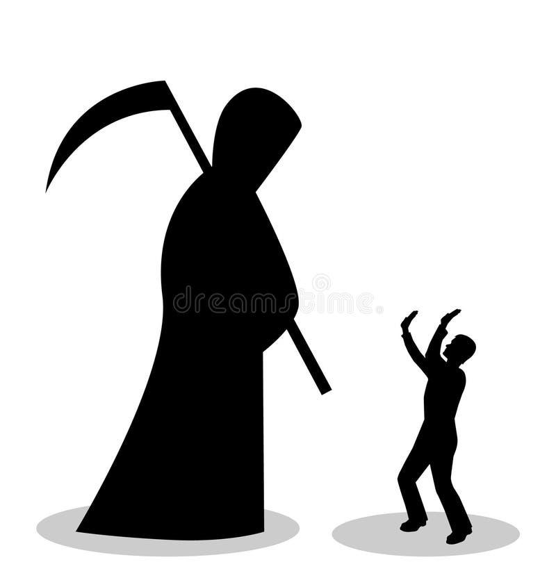 El hombre tiene miedo de muerte stock de ilustración