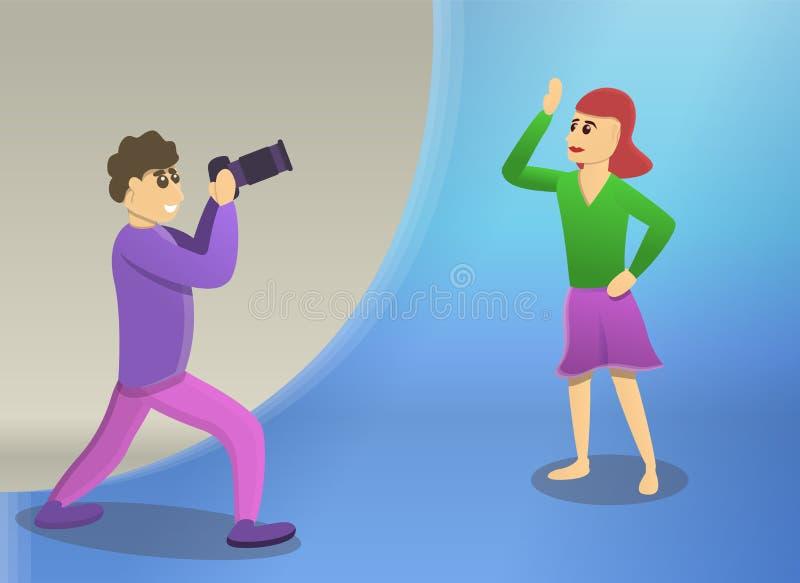 El hombre toma la bandera del concepto de la mujer de la sesión de foto, estilo de la historieta libre illustration