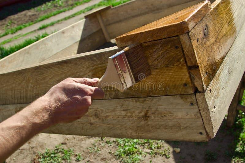El hombre trabaja con un cepillo, cubre el árbol de barniz El ruso imágenes de archivo libres de regalías
