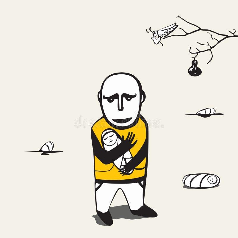 El hombre triste pierde la idea libre illustration