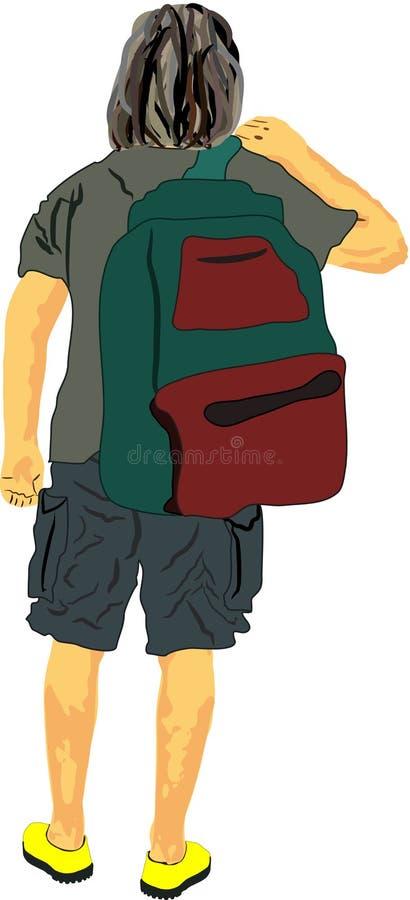 El hombre turístico en medias camiseta y Bermudas de la manga y la mochila empaquetan en un hombro que va ejemplo del concepto le stock de ilustración
