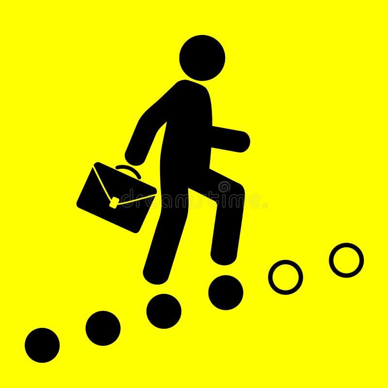 El hombre va encima de la escalera de la carrera ilustración del vector