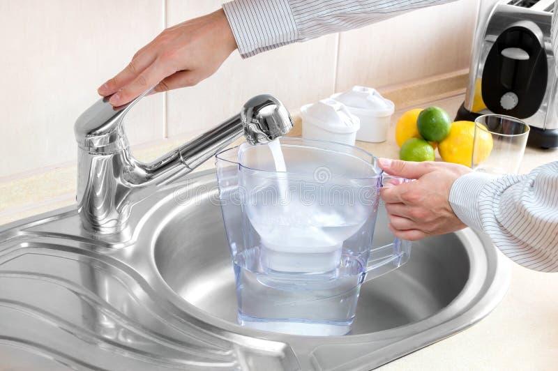 El hombre vierte el agua en el jarro del filtro fotos de archivo