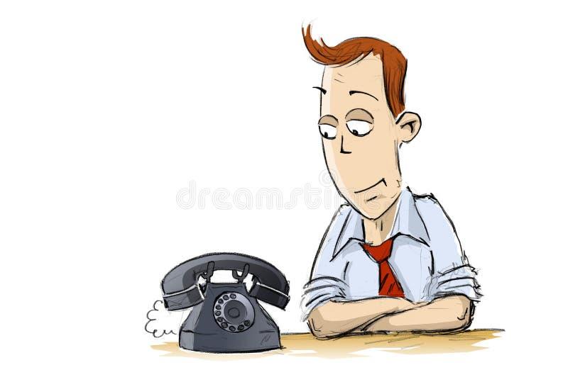 El hombre y el teléfono viejo stock de ilustración