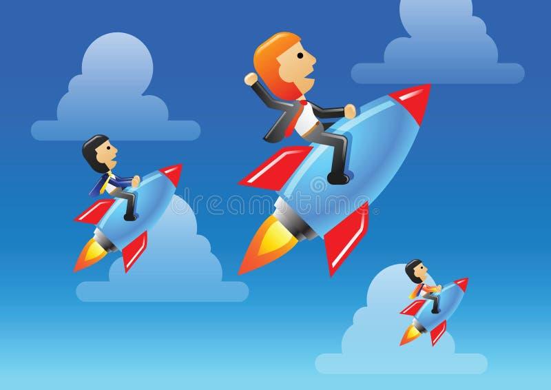 El hombre y el equipo de negocios montan el cohete para llevar su negocio y organización para ser éxito, ganador ilustración del vector