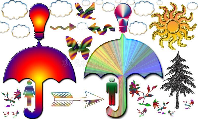 El hombre y la mujer únicos del arte comparten conocimiento debajo del paraguas libre illustration