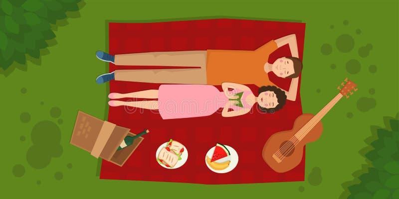 El hombre y la mujer adultos de los pares en comida campestre del verano asan a la parilla el ejemplo romántico al aire libre del ilustración del vector
