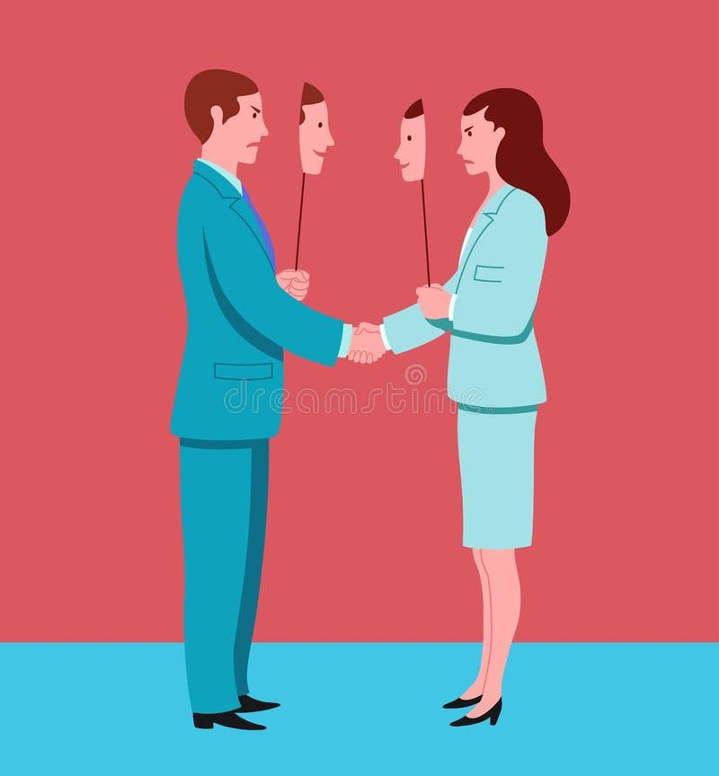 El hombre y la mujer de negocios que sacuden las manos fingen estar de acuerdo y ocultar hostilidad mutua stock de ilustración