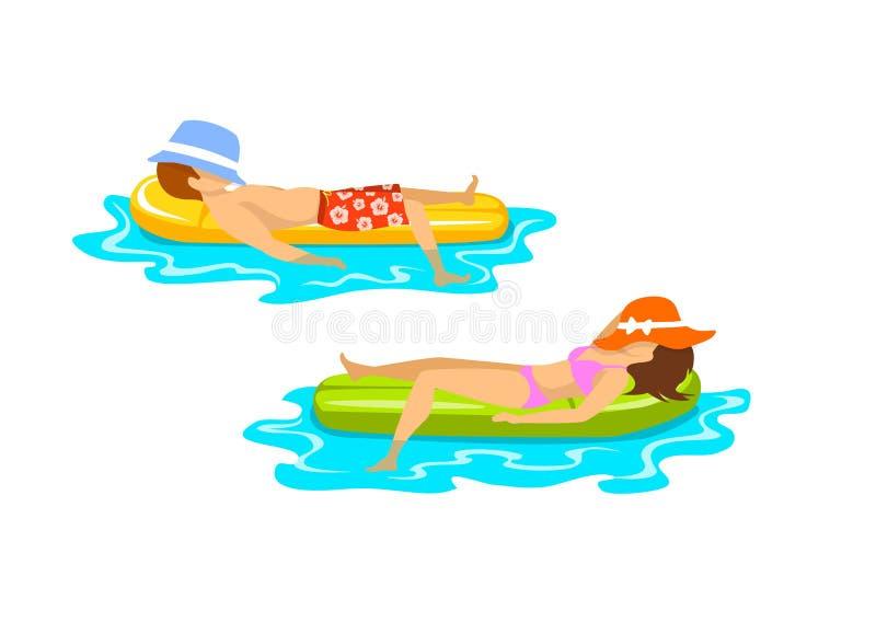 El hombre y la mujer el tiempo de verano varan las vacaciones que se relajan tomando el sol la natación flotante en el colchón in stock de ilustración