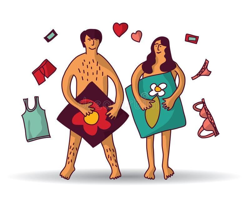 El hombre y la mujer juntan las relaciones desnudas del sexo blancas ilustración del vector