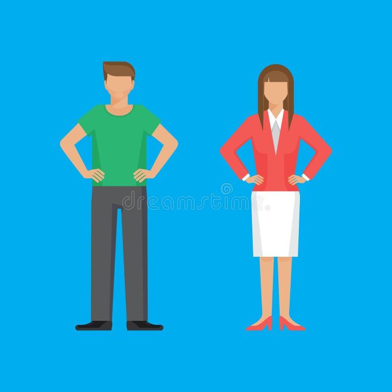 El hombre y la mujer se están colocando que sostienen los brazos en jarras libre illustration