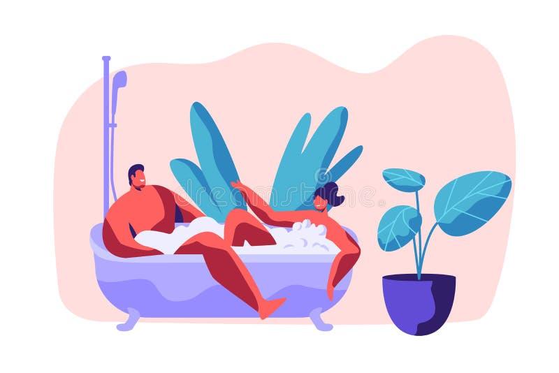 El hombre y la mujer toman el baño así como burbuja en cuarto de baño Los pares jovenes felices disfrutan de tiempo casero románt stock de ilustración